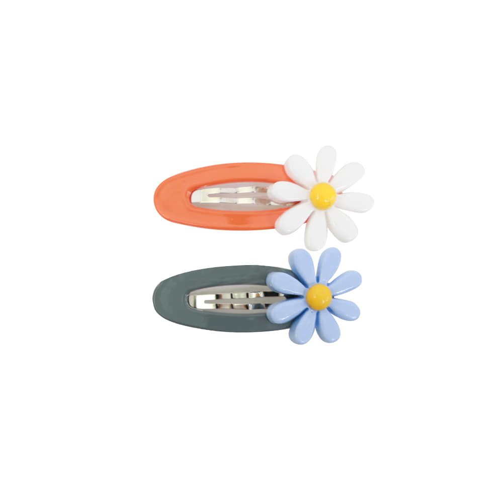 Daisy pin - white,blue