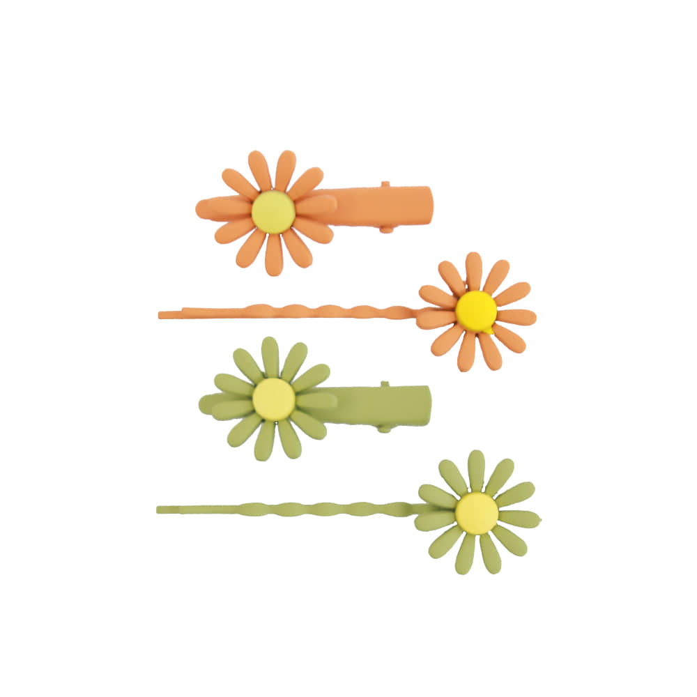 Flower pin - orange,green