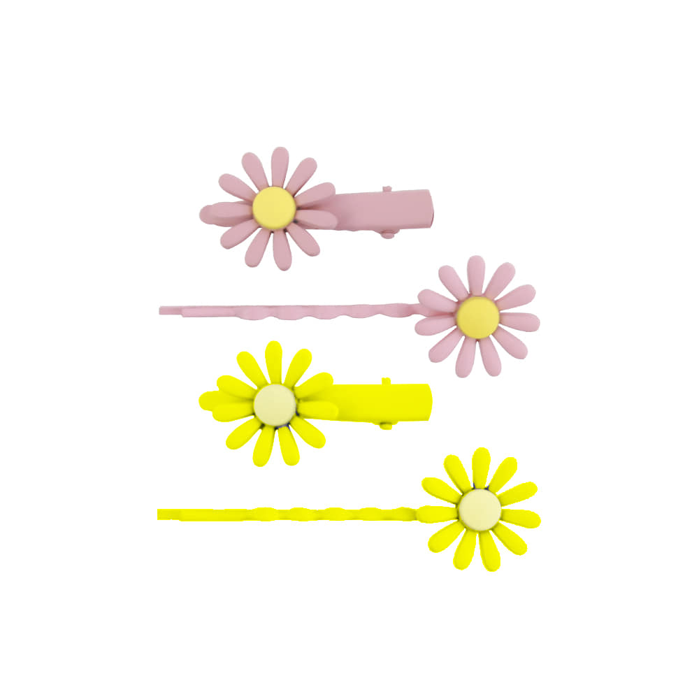 Flower pin - pink,yellow