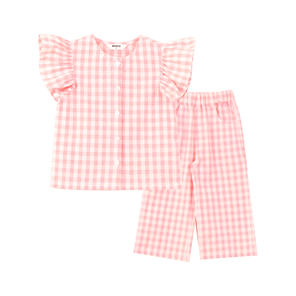 Pink check frill set (2차 입고, 당일발송)