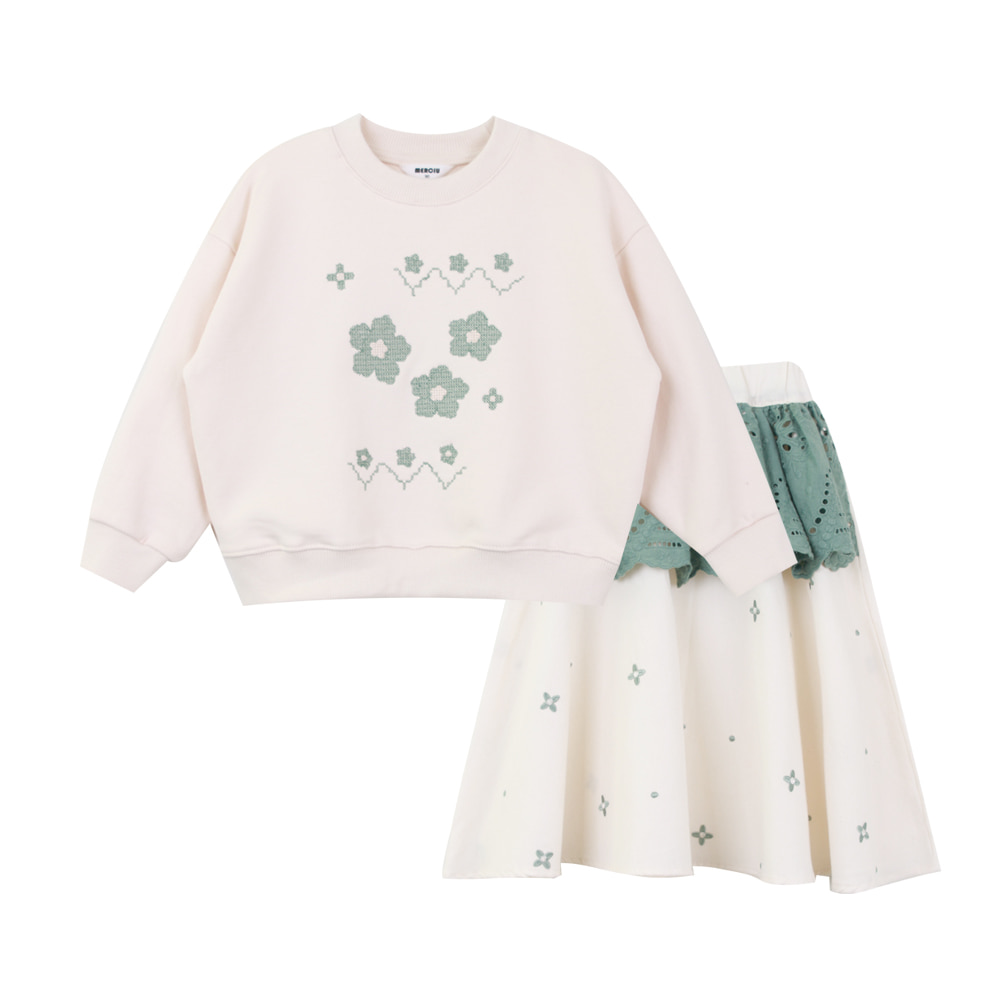 Flower embroidery sweatshirt lace skirt SET (2차 입고, 당일발송)