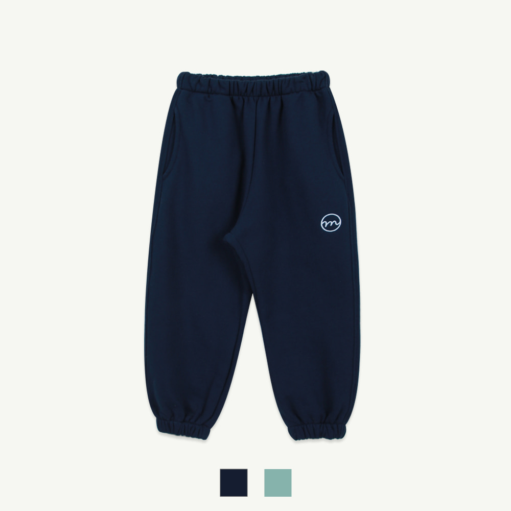 M embroidery jogger pants - navy,mint ( 5차 입고, 당일 발송)