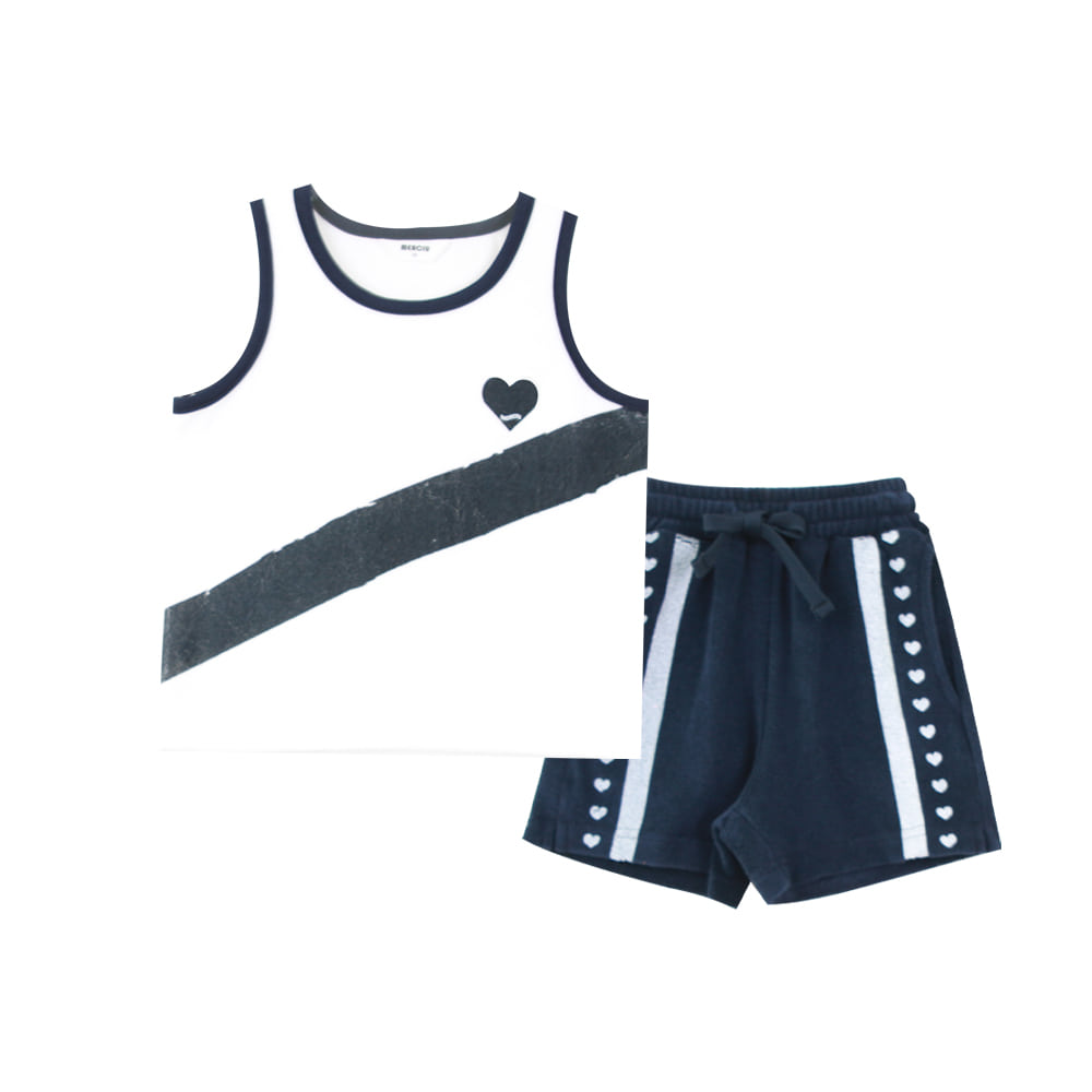 Heart sleeveless set - navy (2차 입고, 당일발송)