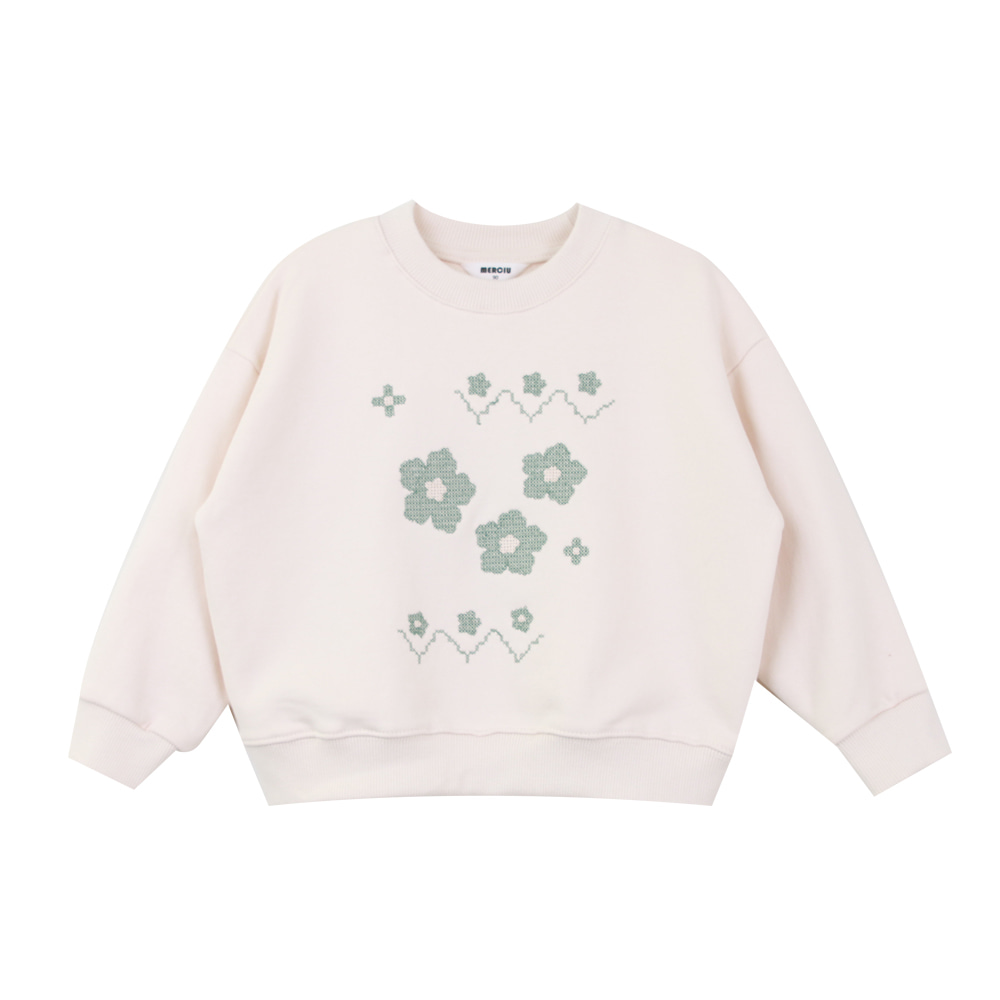 Merciu flower embroidery sweatshirt (단품 판매, 당일발송)