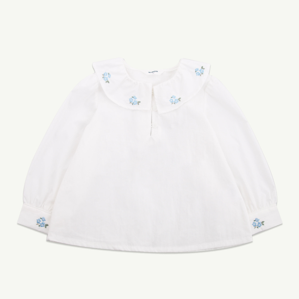 Blue flower embroidery blouse (당일발송)